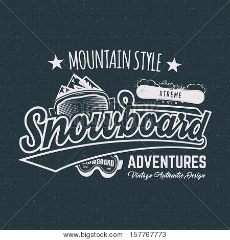 Winter snowboard sports label, t shirt. Vintage mountain style shirt design. Outdoor adventure typography and snowboarding graphic tee. Hipster monochrome insignia. clothing apparel. Isolated.