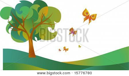 landscape of tree with butterflies