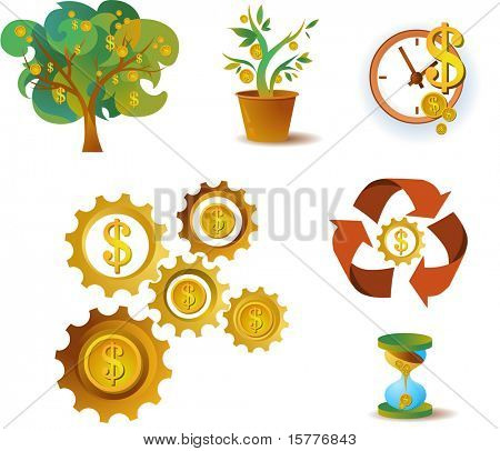many icons of money, vector file