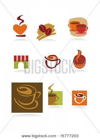 Template designs of icons for coffee shop and restaurant, vector file include