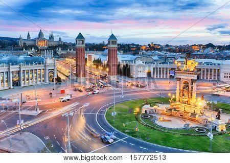 Dusk view of Barcelona Spain. Plaza de Espana