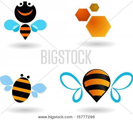 collection of bees icons and symbols, vector design