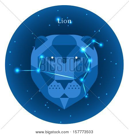 Stylized icons of zodiac signs in the night sky with zodiac bright stars constellation in front. Astrology symbol. Lion zodiac sign.