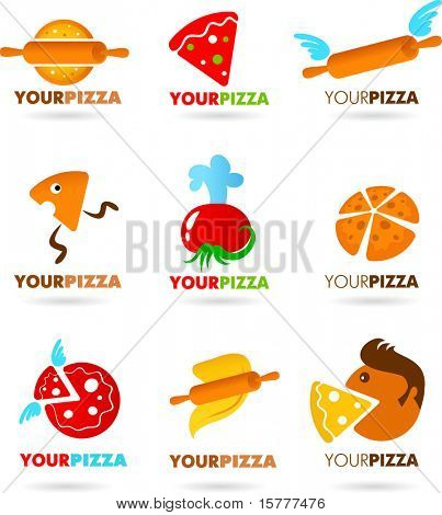 Template designs of icons for  PIZZA restaurant, vector file include