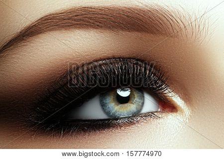 Beautiful Macro Shot Of Female Eye With Extreme Long Eyelashes