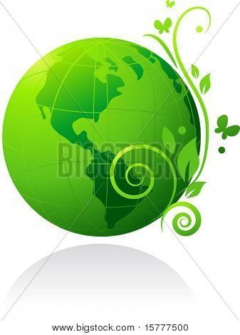 nature green globe with flowers and butterfly