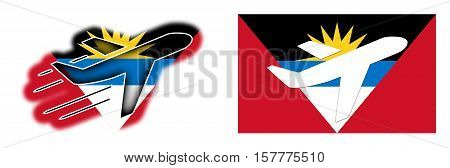Nation Flag - Airplane Isolated - Antigua And Barbuda
