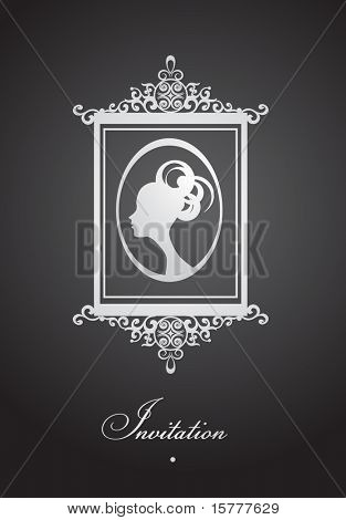 Design of vintage invitation with decorative frame,