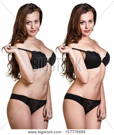 Beautiful young woman body before and after retouch.