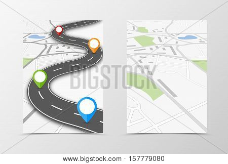 Front and back travel flyer template design. Abstract template with map and colorful pin pointers in graphic informative style. Vector illustration