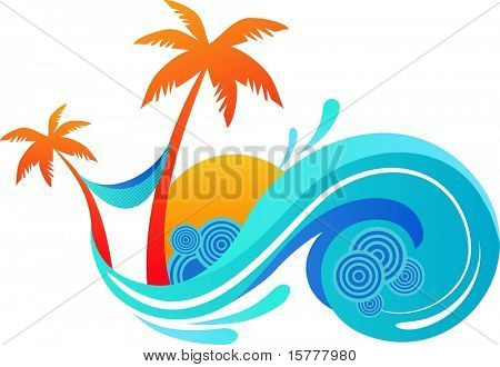 illustration of summer - palm trees and ocean wave