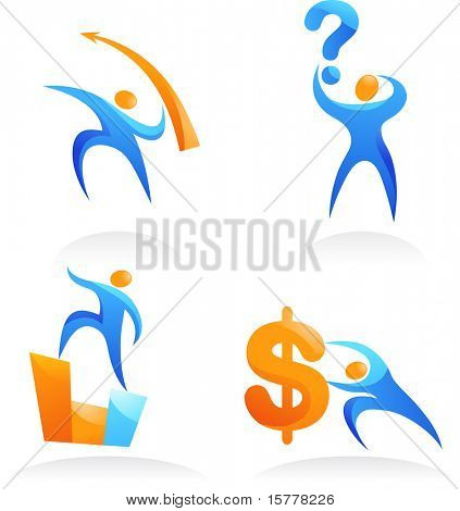 collection of icons with the business people - 3