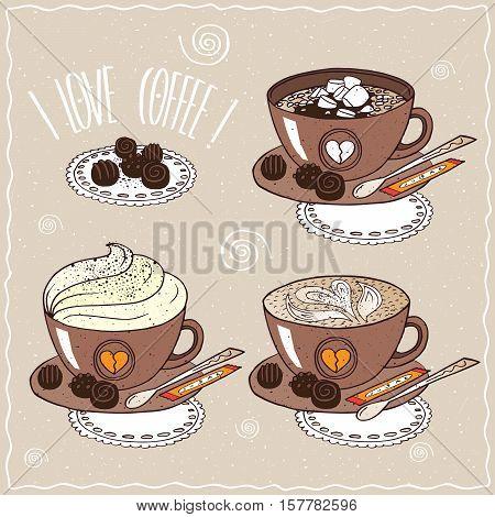 Set Of Cups Of Coffee In Handmade Cartoon Style