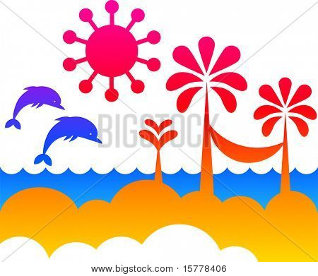 illustration of summer with palm trees and ocean wave