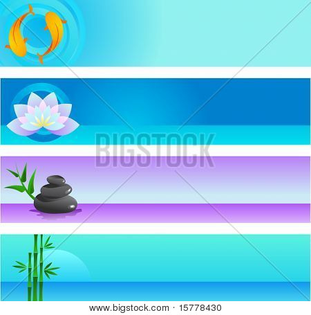 A set of vector banner templates in Chinese and Japanese  - spirituality and wellness theme