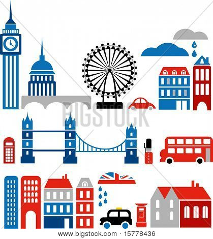Vector illustration of London with colorful icons of routemaster buses and landmark buildings