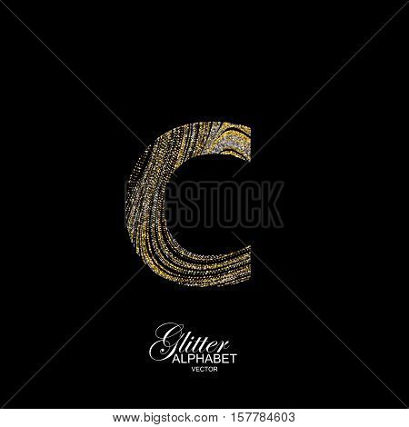 Letter C of golden and silver glitters. Typographic vector element for design. Part of marble texture imitation alphabet. Letter C with diffusion glitter lines swirly pattern. Vector illustration