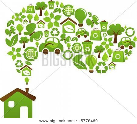 Green house with icons of birds, butterflies and flowers