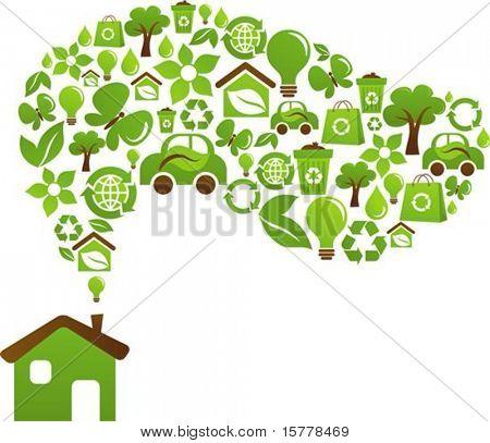 Casa verde com ícones de pássaros, borboletas e flores