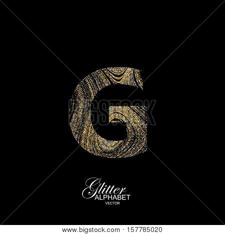 Letter G of golden and silver glitters. Typographic vector element for design. Part of marble texture imitation alphabet. Letter G with diffusion glitter lines swirly pattern. Vector illustration