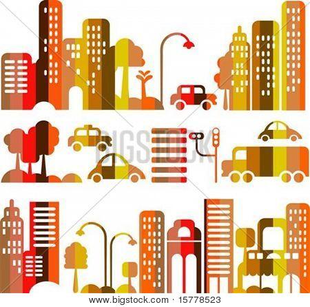 Ilustração em vetor de uma rua da cidade à noite com ícones de carros, árvores e edifícios