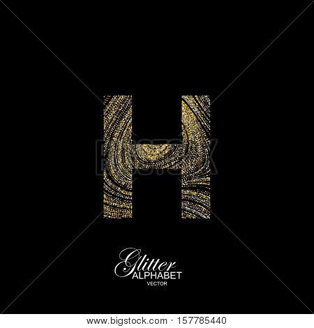 Letter H of golden and silver glitters. Typographic vector element for design. Part of marble texture imitation alphabet. Letter H with diffusion glitter lines swirly pattern. Vector illustration