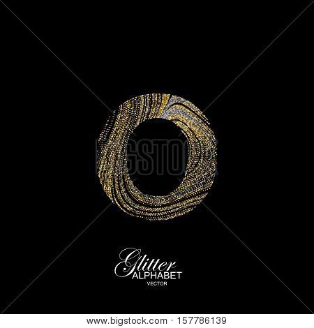 Letter O of golden and silver glitters. Typographic vector element for design. Part of marble texture imitation alphabet. Letter O with diffusion glitter lines swirly pattern. Vector illustration