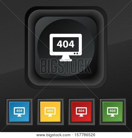 404 Not Found Error Icon Symbol. Set Of Five Colorful, Stylish Buttons On Black Texture For Your Des