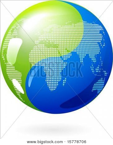 Abstract Earth background with Yin-Yang symbol