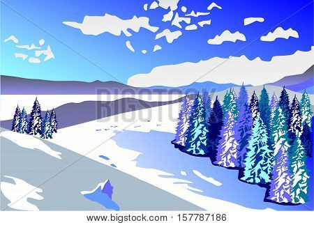 Beautiful winter landscape. Snowy slopes and forest on a background of the cloudy sky