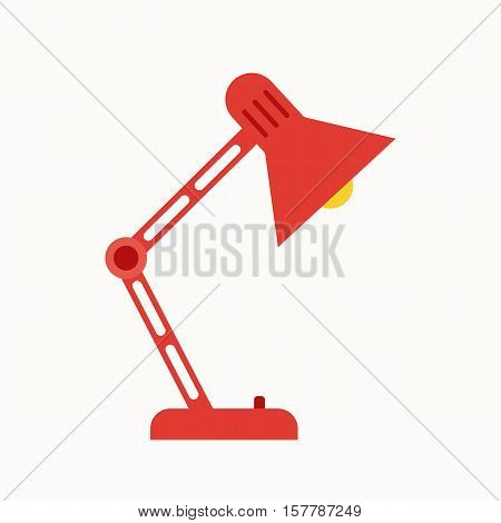 Office lamp flat icon. Vector office table lamp silhouette illustration. Concept of office desk lamp silhouette. Colorful office lamp icon for your design. Flat cartoon desk lamp silhouette isolated.