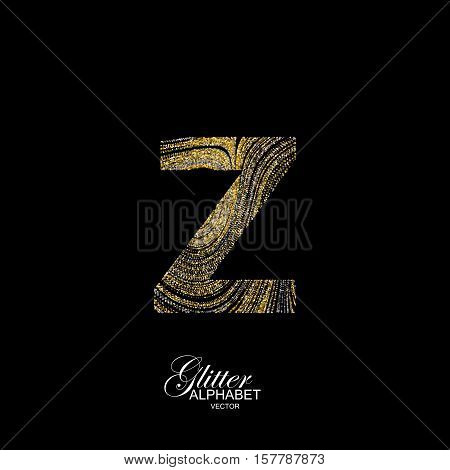 Letter Z of golden and silver glitters. Typographic vector element for design. Part of marble texture imitation alphabet. Letter Z with diffusion glitter lines swirly pattern. Vector illustration