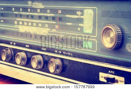 Front view of vintage radio retro tecnology