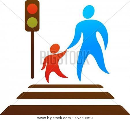 Pictogram of parent and child crossing the street