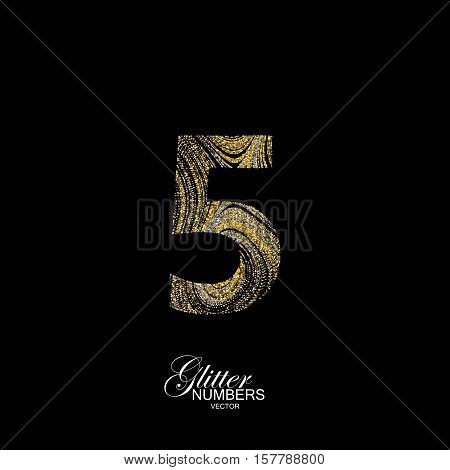 Number 5 of golden and silver glitters. Typographic vector element for design. Part of marble texture imitation alphabet. Digit five with diffusion glitter lines swirly pattern. Vector illustration
