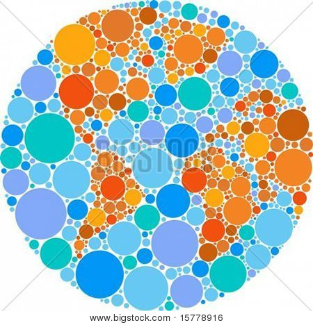 Globe outline made from colourful round patches