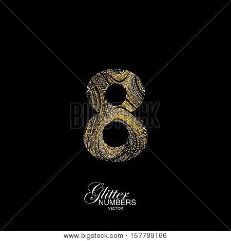 Number 8 of golden and silver glitters. Typographic vector element for design. Part of marble texture imitation alphabet. Digit eight with diffusion glitter lines swirly pattern. Vector illustration