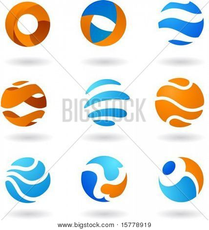 Collection  of abstract globe icons