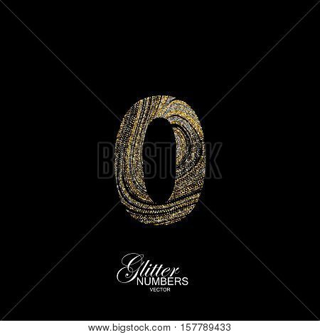 Number 0 of golden and silver glitters. Typographic vector element for design. Part of marble texture imitation alphabet. Digit zero with diffusion glitter lines swirly pattern. Vector illustration