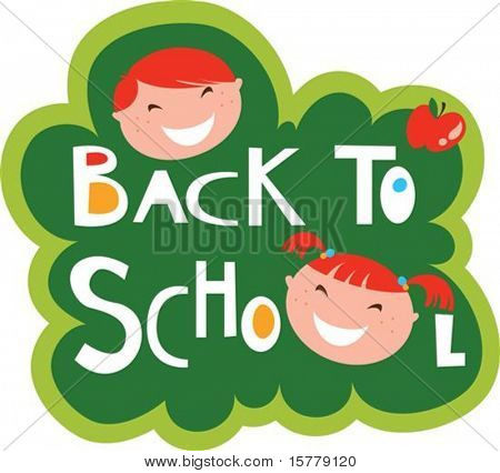 Back to school illustration with happy kids