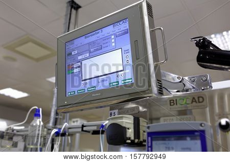 ST. PETERSBURG, RUSSIA - NOVEMBER 16, 2016: Research equipment in the High-Throughput Biotechnology Laboratory of BIOCAD. It is one of the few full-cycle drug development and manufacturing companies