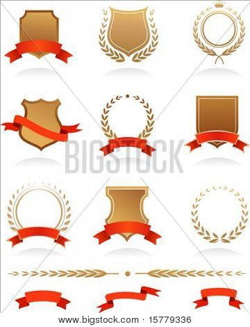 Banners, badges, laurels and ribbons