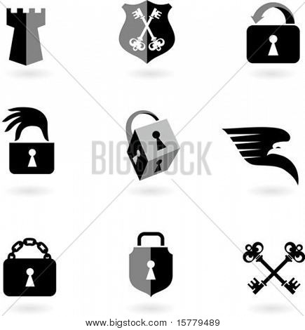 Collection of black and white security icons