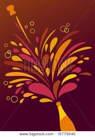 Champagne splash retro funky background