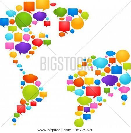 World map made from thought bubbles