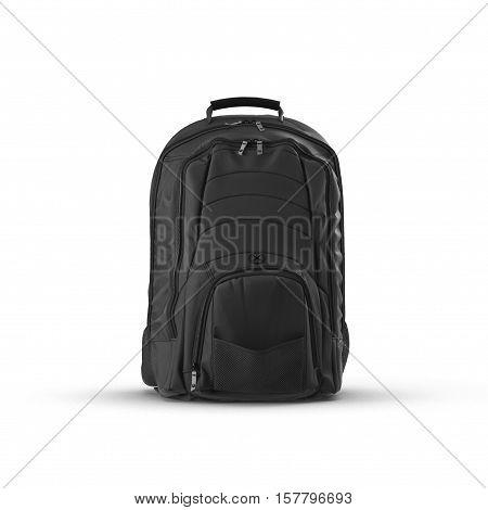 Black school backpack isolated on white background.Sport travel rucksack closeup. 3D illustration