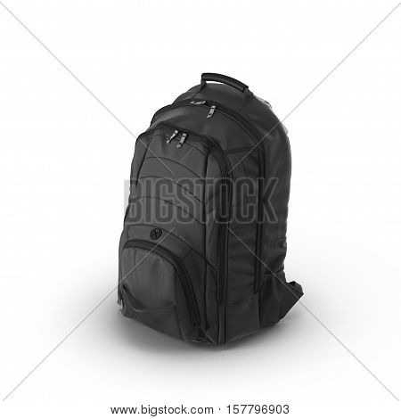 Black backpack or back pack or school bag or rucksack isolated on white background. 3D illustration