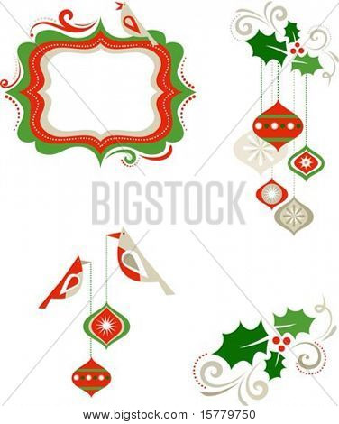 Christmas graphic elements - frame, birds and decorations