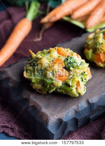 Patties With Carrots And Broccoli. Vertical