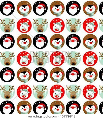 Santa Claus, Rudolph, polar bear and penguin wallpaper